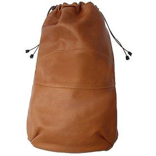 Piel Leather Drawstring Shoe Bag, Saddle, One Size