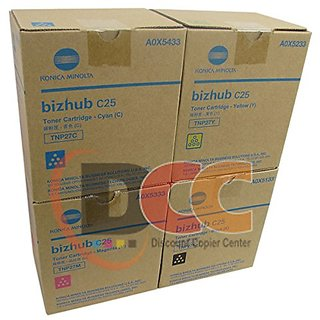 Genuine Konica Minolta TNP27 CYMK Toner Cartridge Set for Bizhub C25