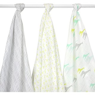 Just Born 3-Pack Muslin Blankets Giraffes, Green/Grey/White