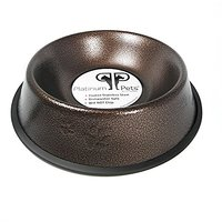 Platinum Pets 2 Cup Embossed Non-Tip Stainless Steel Dog Bowl, Copper Vein
