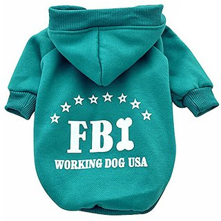 Moolecole Cold Clothes for Dogs Hoodie Pet Sweater Costume Cotton and Fleece in FBI Pattern Design (XXL, Turquoise)
