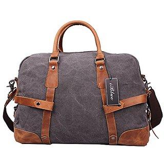 Iblue Large Canvas Travel Tote Luggage Carryon Handbag Sports Duffle Bag19.6in #91235 (Dark Grey)
