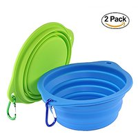 Wangstar Large Collapsible Dog Bowl For Dog Food, Food Grade Silicone Bpa Free Bowls, Foldable Pet Feeder Cup Dish Trave