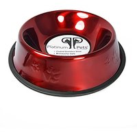 Platinum Pets 6.25 Cup Embossed Non-Tip Stainless Steel Dog Bowl, Candy Red