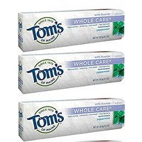 Toms Of Maine Whole Care Fluoride Toothpaste Peppermint 4.7 Oz. (Pack Of 3)