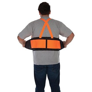 Liberty DuraWear Plain Back Support Belt with Hi-Vis Fluorescent Orange Attached Suspenders, Small, Black
