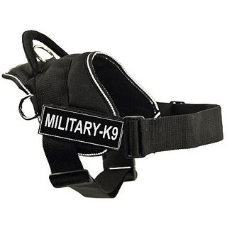 DT Fun Works Harness, Military-K9, Black With Reflective Trim, Large - Fits Girth Size: 32-Inch to 42-Inch