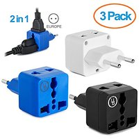 Yubi Power 2 In 1 Universal Travel Adapter With 2 Universal Outlets - Built In Surge Protector - 3 Pack - Black - White