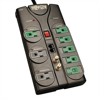 Tripp Lite 8 Outlet Eco-Surge Protector Power Strip Tel/Modem/Coax/Ethernet 8ft Cord Right Angle Plug (AV88SATG)