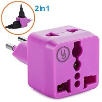 Yubi Power 2 In 1 Universal Travel Adapter With 2 Universal Outlets - Built In Surge Protector - Purple - Type J For Swi