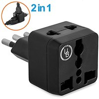 Yubi Power 2 In 1 Universal Travel Adapter With 2 Universal Outlets - Built In Surge Protector - Black - Type L For Chil