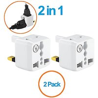 Yubi Power 2 In 1 Universal Travel Adapter With 2 Universal Outlets - Built In Surge Protector - White 2 Pack - Type G F