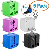 Yubi Power 2 In 1 Universal Travel Adapter With 2 Universal Outlets - Built In Surge Protector - 5 Pack - Green White Bl