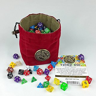 Third Die Dice Bag - Celtic Medal Series - Handcrafted, Reversible Dice Bag-Stands Open On The Table And Closes Tight