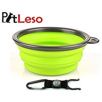 Pet Leso Dog Water Bowl Feeder Cat Bowls Portable Pet Travel Bowl Water With Carabiner Compass -Green
