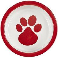 Melia Pet Paw Ceramic Dog Bowl - Red - Medium