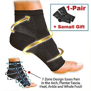 iBuylinks copper compression ankle sleeves + + (Free Gift 1pc Rfid Block Sleeve for Credit Card) (S/M)
