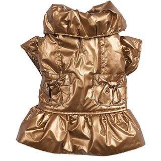 Zack & Zoey Polyester Razzle Dazzle Puffy Dog Coat, Teacup, Gold