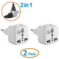 Yubi Power 2 In 1 Universal Travel Adapter With 2 Universal Outlets - Built In Surge Protector - White 2 Pack - Type C F