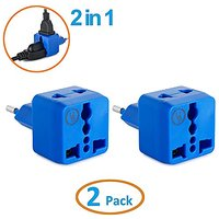 Yubi Power 2 In 1 Universal Travel Adapter With 2 Universal Outlets - Built In Surge Protector - Blue 2 Pack - Type C Fo