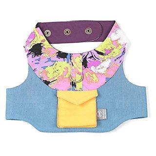 Orange Blinks Just Denim Harness, X-small, Purple Prints/Yellow/Denim Blue