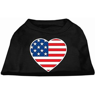 Mirage Pet Products American Flag Heart Screen Print Shirt, X-Small, Black