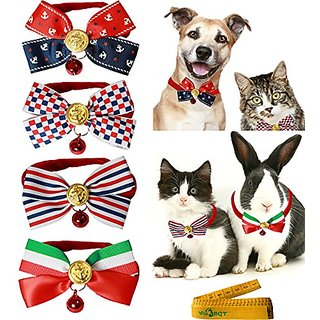 4 Pcs Cute Adorable Stylish Adjustable Cat Dog Rabbit Pet Cloth Bow Tie Bowknot Collar With Alloy Bell For Small Cats Ki