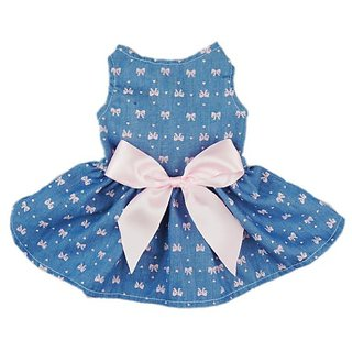 Fitwarm Sweetie Bows Soft Denim Pet Dog Dress Shirts Clothes Vest Apparel, X-small