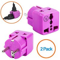 Yubi Power 2 In 1 Universal Travel Adapter With 2 Universal Outlets - Built In Surge Protector - 2 Pack - Purple - Shuck