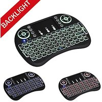 NOVITIME NEW Version I8 2.4GHz LED Backlit Mini Wireless Keyboard With Touchpad Mouse Soft Silicone Button,Backlight Mou