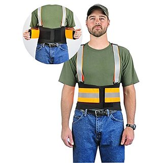Hi-Visibility Reflective Back Brace Lumbar Support, Adjustable Suspenders - Over Lapping Belt For Lower Back Compression