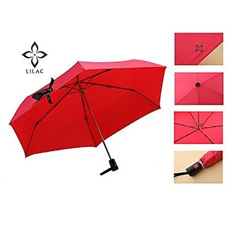 Lilac Auto Open&Close Compact Windproof and Anti-UV (UPF50+) Foldable Travel Umbrella for Women, Pink