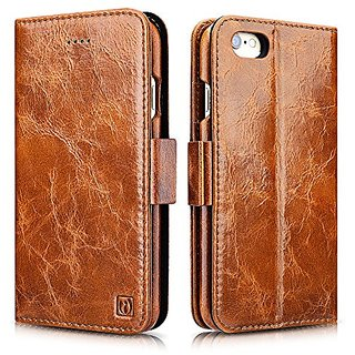 iPhone 6 / 6S Case, Icarercase Oil Wax Vintage Genuine Leather Detachable 2 in 1 Case, Wallet Folio Flip and Back Cover