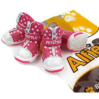 Alfie Pet by Petoga Couture - Josie All Weather Set of 4 Dog Boots/Sneakers - Color: Hot Pink, Size: XL