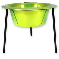 Platinum Pets 2-Cup Single Saucer Feeder With Wide Rimmed Bowl, Corona Lime