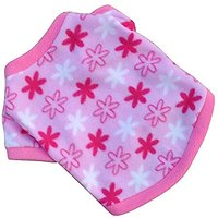 Haogo Pet Puppy Shirt Clothes Polar Fleece Snowflake Printed Vest T Shirt For Small Dog Pet Pink M