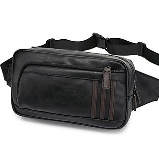 BAOSHA Oversized YB-06 Top PU Leather Mens Waist Bag Fanny Pack Belt Bag Black
