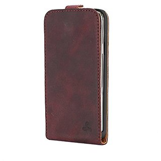 Snakehive Vintage Collection Samsung Galaxy S5 Flip Case in Nubuck Leather with Credit Card / Note slot (Plum)