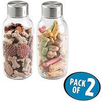 MDesign Pet Storage Jar With Sealed Lid For Dog And Cat Food, Treats - Pack Of 2, 55 Oz, Clear