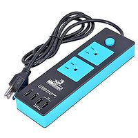 Power Strip NRGized C300 With 2-AC Outlets And 4 USB Charging Ports 5-Ft Cord (Black/Blue)