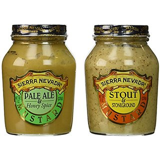 Sierra Nevada Mustard 2-Flavor Variety: One 8 oz Jar Each of Sierra Nevada Pale Ale & Honey Spice Mustard and Sierra Nev