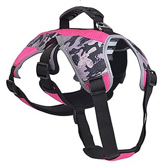 EXPAWLORER Escape Proof Outdoor Dog Harness Safety Air Mesh Reflective 5 Points Adjustment Pet Vest with Handle for Hiki