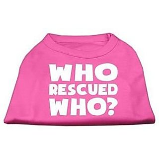 Mirage Pet Products Who Rescued Who Screen Print Shirt, Large, Bright Pink