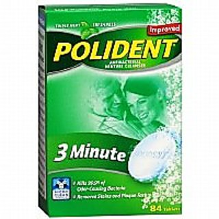 Polident 3 Minute, Antibacterial Denture Cleanser, Triple Mint Freshness, 84 ea - 2pc