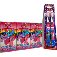 My Little Pony Personal Care Pack! 2 Brush Buddies Toothbrushes; 6-pack Of Facial Tissue. 2-pc