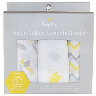 Softest, Largest Muslin Cotton Swaddle Blanket 3-Pack Set. 47 inch x 47 inch. Perfect Baby Shower Gift. Stunning pattern