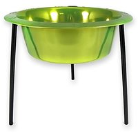 Platinum Pets 8-Cup Single Saucer Feeder With Wide Rimmed Bowl, Corona Lime