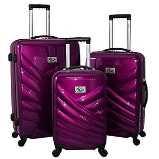 Chariot Veneto 3 Piece Hardside Lightweight Upright Spinner Luggage Set, Violet, One Size