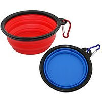 ONME 2 Pack Collapsible Travel Dog Bowl, Folding Portable Bowls For Cats Dogs, Silicone Collapsing Pet Bowls With Carabi
