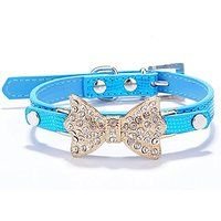 Neonr The Crystal Rhinestone Bowknot Pet Fashion Collar With PU Material For Female Yorkie Puppies Dogs Cats Shiny With
